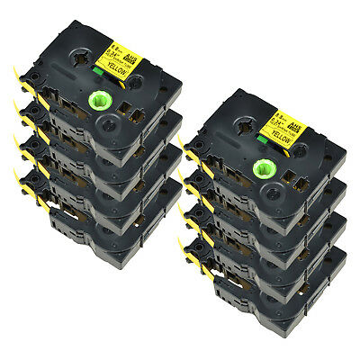 8PK For Brother PT-E300 PT-E550W HSe621 Heat Shrink Tube Black on yellow 8.8mm