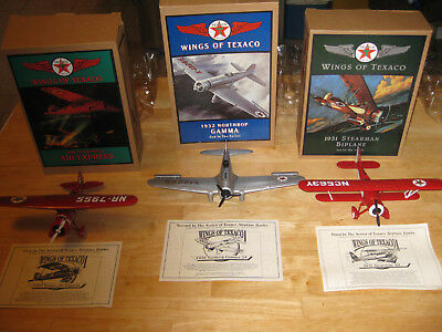 Wings Of Texaco Die Cast Coin Bank Airplanes First Second And Third In Series