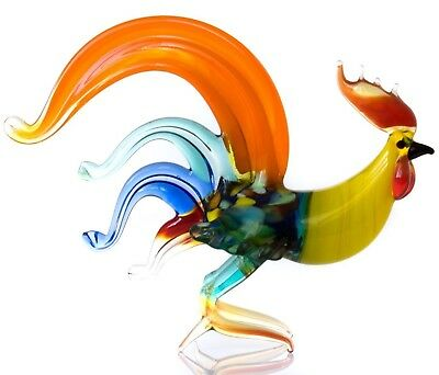 "Red Blue Rooster Figurine Blown Glass ""Murano"" Art Animal Bird Miniature"