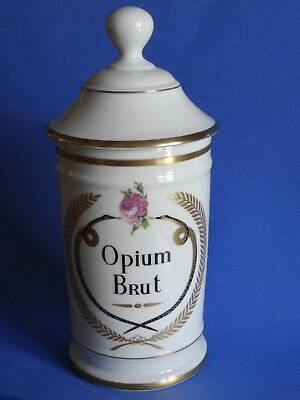 1 Pot A Pharmacie Au Pot De Galien En Porcelaine De Limoges Opium Brut