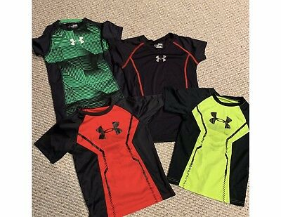 LOT UNDER ARMOUR T Shirts Boys Small size 7 Heat Gear 4 Tops