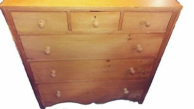 Exceptional Pine Chest Of Drawers - Late 19th C -Scrollwork - 3 drawer top row!