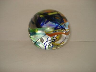"Signed Wilkerson 97 West Virginia Glass Paperweight Multi Color Swirls 2.5"" H"