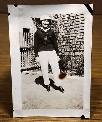 Young Woman Dressed in Navy Military Uniform Vintage Photo Snapshot Picture