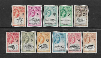 Tristan Da Cunha Postage Issue, 11 Mint Definitive 1960 Stamps, Local Fish