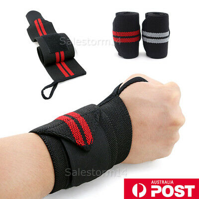 2X Weight Lifting Gym Muscle Training Wrist Support Straps Wraps Bodybuilding OZ