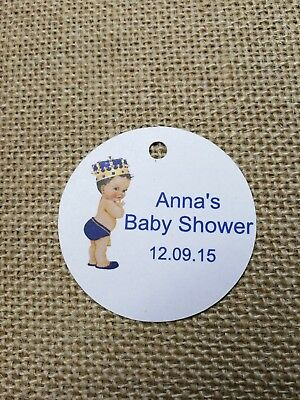 15x Baby Prince Baby Shower Tags Blue Gold Crown Baby Shower Labels