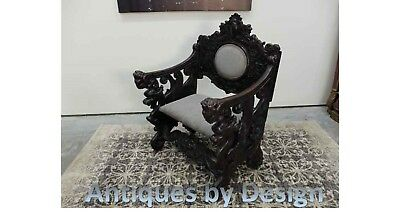 Circa 1880 Early Italian Renaissance Cherub & Griffin Carved Hall Chair