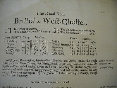 Rare Ogilby Text   From Bristol To West Chester 1695