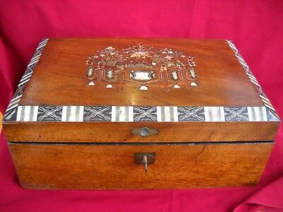 Antique Victorian / Edwardian Writing Slope / Box / Knee Desk Inlaid With MOP