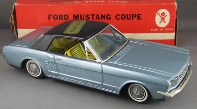 Vintage 1960's Bandai Japan Tin Ford Mustang Coupe Mint and Boxed Beauty