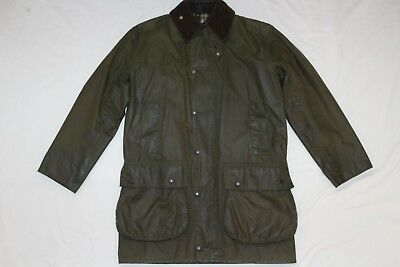 BARBOUR VINTAGE BORDER WAXED JACKET COAT C34 / 86CM XS or SMALL OLIVE GREEN