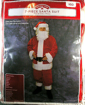 NEW Santa Suit by Holiday Time One Size, Santa Coat Hat Beard Christmas Costume