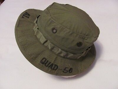 Vietnam US Army Artillery M55 Battery jungle combat boonie hat w/ Quad 50 & name