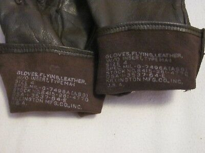 Vietnam US Army aviation helicopter pilot Type MA-1 leather flight gloves 1964