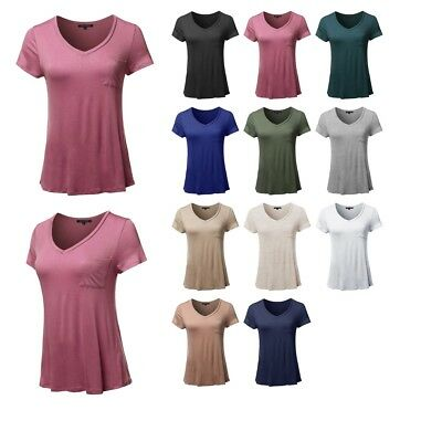 eabf45d11448f FashionOutfit Women s Top Basic Solid Short Sleeve V-Neck Chest Pocket Tee