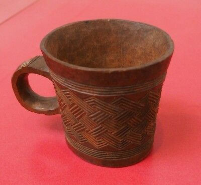 Fine African Tribal Art Congo Kuba Carved Wood Cup W Old Red Collection Number #