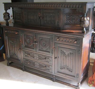 Antique Oak Court Cupboard Cabinet Sideboard Dresser