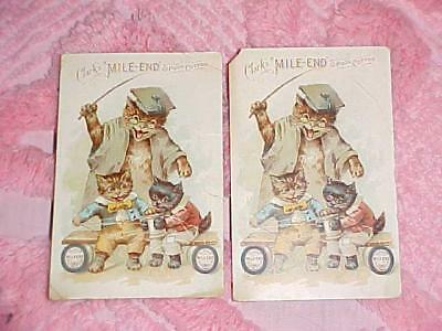 2 Antique Victorian Advertising Trade Card Lot CLARKS MILE-END SPOOL COTTON Cats