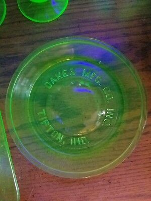 Vintage Green Depression Glass~OAKES MFG CO TIPTON, IND. Chicken Waterer Dish