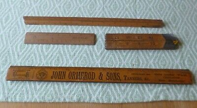 Characterful Collection of 4 Antique/Vintage Wooden Rulers-Great Patina