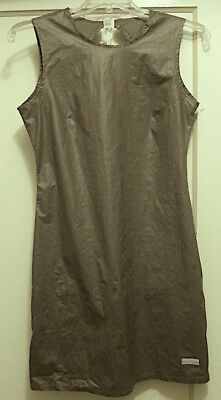 CUTE NOSwT 80s-90s TOMMY HILFIGER coated cottn SLVLESS DRESS olive Sz L Orig $49