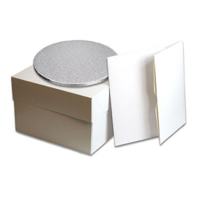"White Cake Box with lid and Cake Board/Drum 8""10""12""14"" Board 3mm/Drum12mm thick"