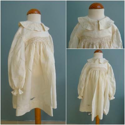 Antique Edwardian Young Girls Dress - Cream Silk - Smocking & Embroidery c1910