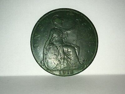 1918 GEORGE V ONE PENNY COIN- Green Patina