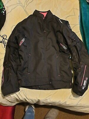 Oxford Ladies Motorcycle Jacket Size 18 black with pink piping