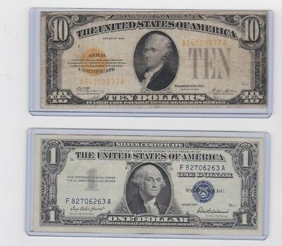 1928 $10 gold certificate & 1957 $1 silver certificate lot 1 each in new holders