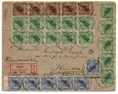 1900 Germany Offices In Togo Reg Cover, 58 Rare Stamps, A Unique Cover