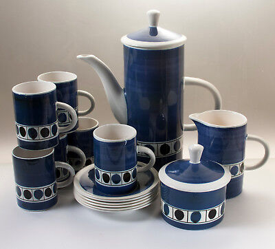 V. Rare Vintage Spot Rye Cinque Ports Pottery Coffee Set 1960s 15 pc, complete