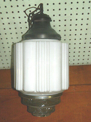 Vtg Antique Art Deco Skyscraper Hanging Light Fixture Globe Milk Glass Clear