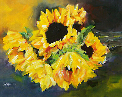 Original Painting Oil on Gessobord Bunch Of Sunflowers