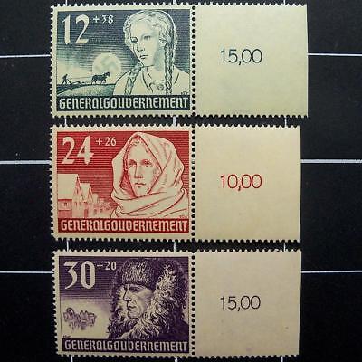 German Nazi-Occupied Poland stamp set/COMPLETE-swastika sun-1940-MNH-WW2 Germany