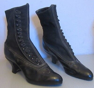 Antique Victorian black leather HIGH BUTTON SHOES womens heel boot