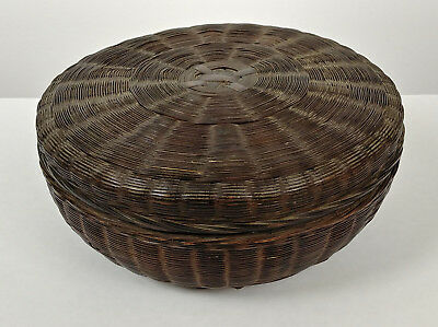 SALE ANTIQUE Chinese Sewing Basket Betty-Lou Collection Plain Dark Brown 100