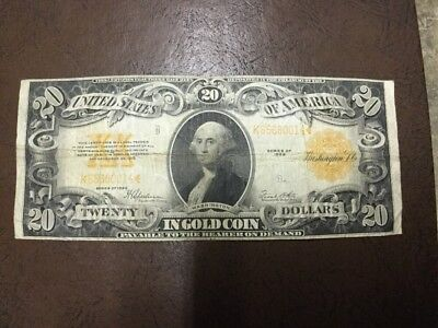 1922 $20 Gold Certificate Twenty Dollar Bill Note Currency Large Size