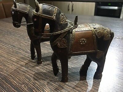 Pair Of Rare Vintage Wooden War Horses With Brass & Copper Armour.