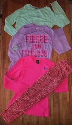 Girl's 4 Pc Active Wear Lot Leggings Tops Under Armour Layer 8 Pink - Size L