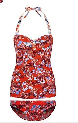 beb757d72a George Size 12 Top & 14 Bottoms Red Floral Halter Neck Tankini Bikini Bnwt