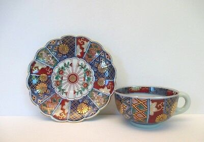 Imari Hand Painted Porcelain Cup and Saucer, Japan