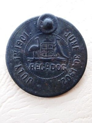 Antique South Australian Dog Registration Tag 1901-1902. Rare design  dog tag