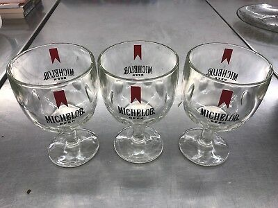 Vintage Michelob Beer Glass Thumb Print Dimple Goblet - Chalice Set Of 3