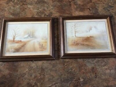 "Pair Framed Matted Signed WS Dougherty Rustic Farm  Prints Pictures 9.5"" x 11.5"