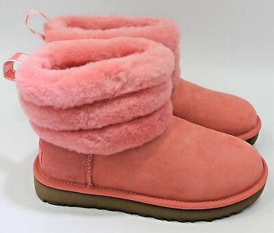 8b180648df6 UGG CLASSIC MINI Fluff Quilted - Women's Pink Suede Boot - NEW Authentic