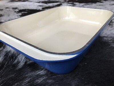RARE Le Creuset Cast Iron Signature Rectangular Roaster 5.25qt Marseille Blue 40