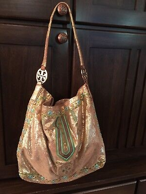 Tory Burch Metallic Gold Suede Leather Hobo Bag Embroidered Turquoise Green NWOT