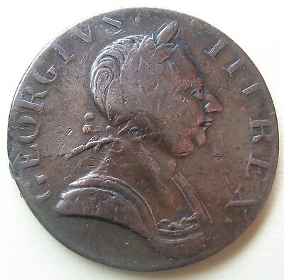 1775 King George III British US Colonial NonRegal Halfpenny - Long Neck Family